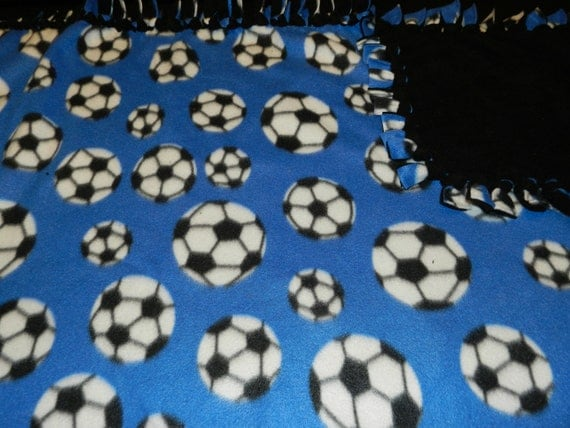Soccer Balls Fleece Tie Blanket No Sew Blanket Backed By