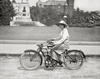 Vintage Photo Woman on Motorized Bicycle Old