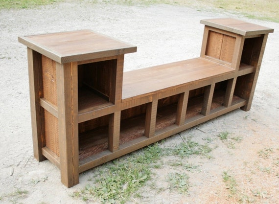 Reclaimed Rustic Entry Bench 8 Cubbies By Echopeakdesign On Etsy