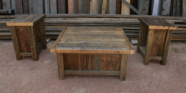 Reclaimed barnwood rustic coffee end table set by for Rustic coffee table and end table set