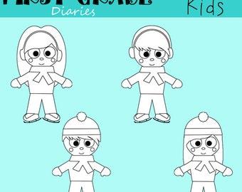 Winter Kids Digital Line Art Set Ice Skating -- BUY 2 Get 1 FREE