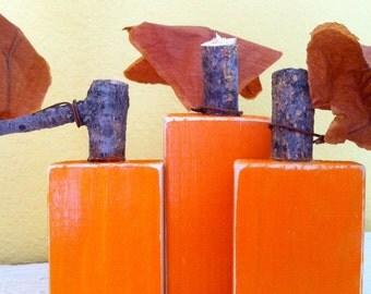 Custom Wooden Block Pumpkins - Set of 3 shelf sitters