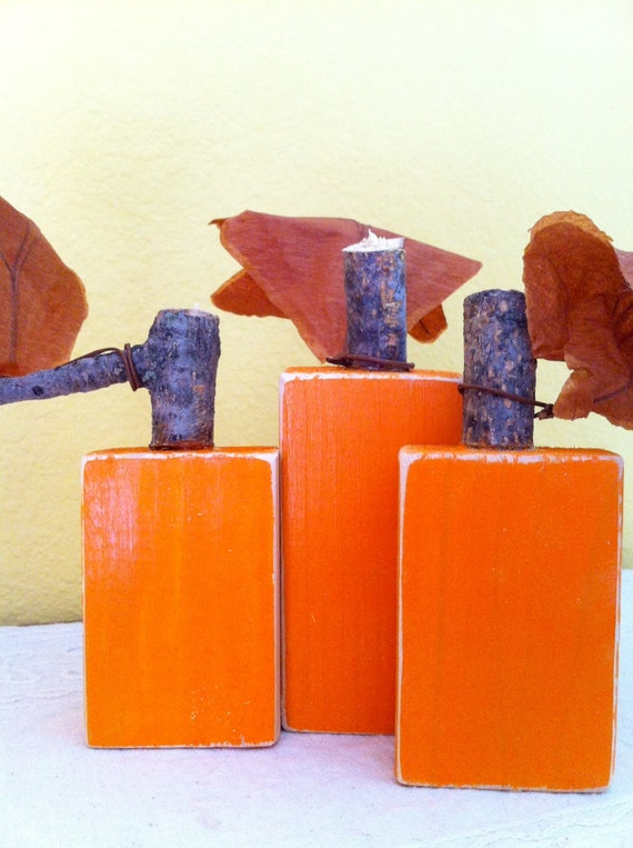 Custom Wooden Block Pumpkins - Set of 3 shelf sitters