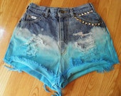 Dip Dyed Ombre High waisted vintage shorts