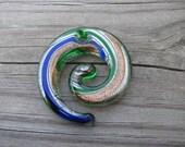 Green Murano Glass Swirl Pendant