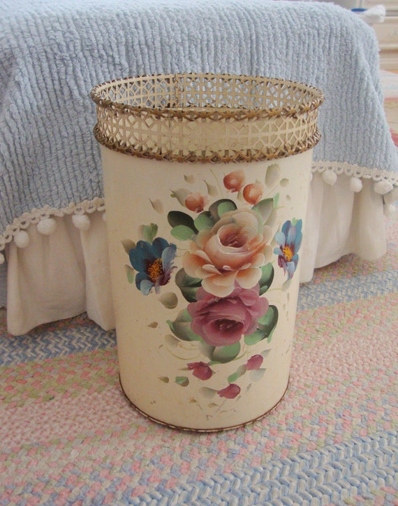 Roses tole wastebasket cream floral reticulated shabby - Shabby chic wastebasket ...