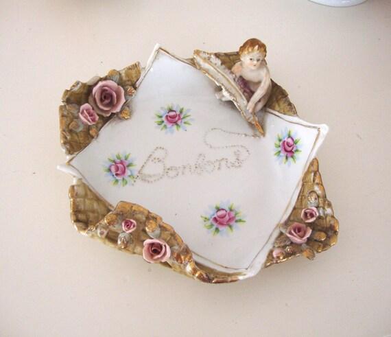 VINTAGE BONBONS DISH - Cherub Roses China - White Milk Glass - Hobnail Fan Vase