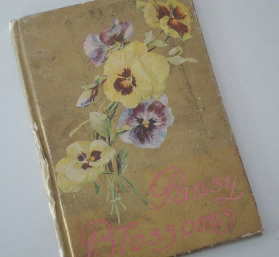 Vintage pansy book blossoms 1909 religious poems floral