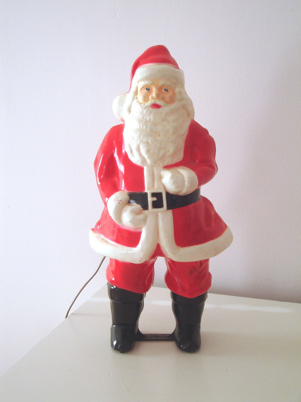 Vintage Blow Mold Hard Plastic Santa Claus Light Up