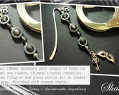 Small Bookmark in Shades of Grey theme with Hematite, Crystal and Glass Pearl and 50, Mask and Key Charms