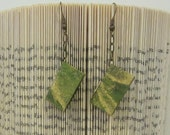 Miniature Book Earrings - Green and Gold Marbled Natural Fiber Paper