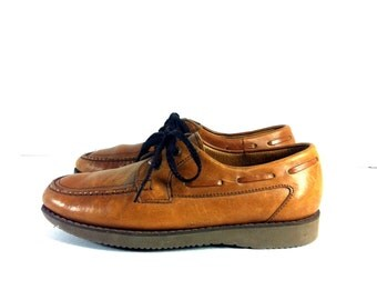 Leather Florsheim Boat Shoes 7 - Leather Deck Shoes 7 - Lace Up Loafers 7