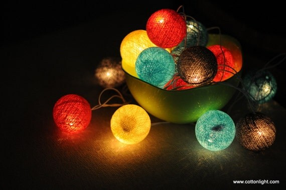 20 x colorful vintage harbour cotton ball string light shade strand wedding party patio garland outdoor indoor