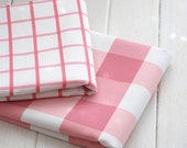 Large Check Fabric, Canvas Cotton Fabric, Pink Plaid Fabric, Sofa Cushion Chair Bag Fabric - Fabric by Yard 1/2 yard