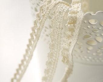 Cotton Lace Fabric Trim - Beige Cream Floral Crochet Cotton Net Lace Ribbon Trim 3 Designs Set  6 Yards