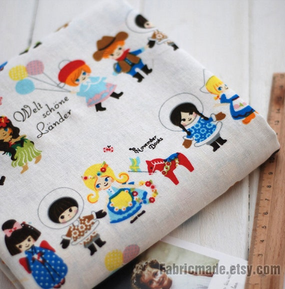 Children Decor Fabric Little Children Fabric Linen Cotton Fabric Cloth Cushion Curtain Bag Quilting Fabric- 1/2 yard