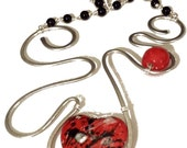 Red heart necklace: ceramic beads and aluminum wire with black glass pearls