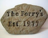 Custom Name Rock Sign Hand Crafted for Home or Garden, WEDDING GIFT