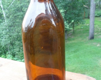 Vintage Amber  Milk Bottle 1950's Unbranded