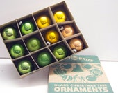 Vintage Green and Gold Shiny Brite Tree Ornaments