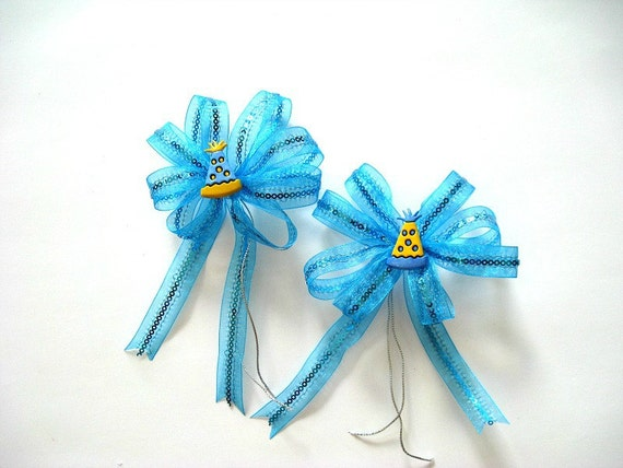 Birthday party hat with turquoise ribbon (SB29)