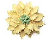 Felt Flower Pin - Butter Yellow and Mint: Pastel Fashion, Feminine Accessory, Handmade