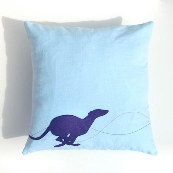 Blue Whippet Cushion, Running Dog Pillow
