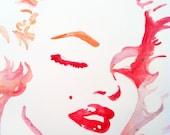 Marilyn Monroe ORIGINAL watercolor painting 9x12 inch.