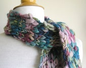 Clarissa Scarf - Chunky Wool - Long Skinny Scarf - Pinks with Blue and Green and Teal - MoonandSixpenceKnits