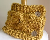 "Cabled Scarf -- ""Lucky Horseshoes"" -- Wool Blend -- Necklet Version -- Goldenrod color"