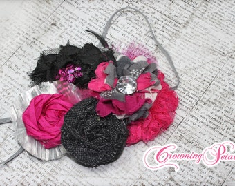 Fuchsia, Black, Silver Headband, Baby Hair Bow, Dark Pink, Grey Fabric Flower Hair Accessories, Fuchsia Pink, Gray Flower Brooch, Hair Clip