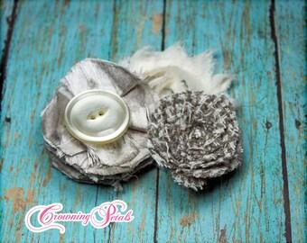 Grey, Ivory, Cream Headband, Hair Accessory, Baby Girl Hair Bow, Taupe Hair Piece, Girls Hair Clip, Fabric Flower Brooch