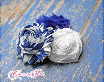 Royal Blue White Fabric Flower Headband, Hair Bow, Blue Hair Accessory, Baby Girl Headband, Newborn, Flower Hair Clip, Brooch
