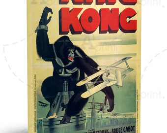"""Vintage poster for """"King Kong"""" movie Canvas Art ready to hang 20""""x28"""""""