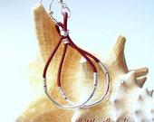 Earrings, Leather, Red, Silver, Tear drop, Hoop, Dangle, Wire wrapped, Handmade, Summer, Boho