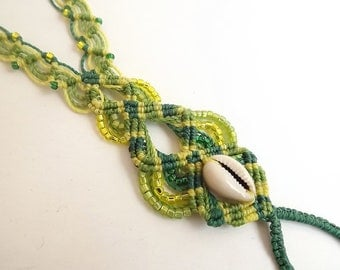 Macrame Barefoot Sandal - Green & Yellow with Cowrie Shell