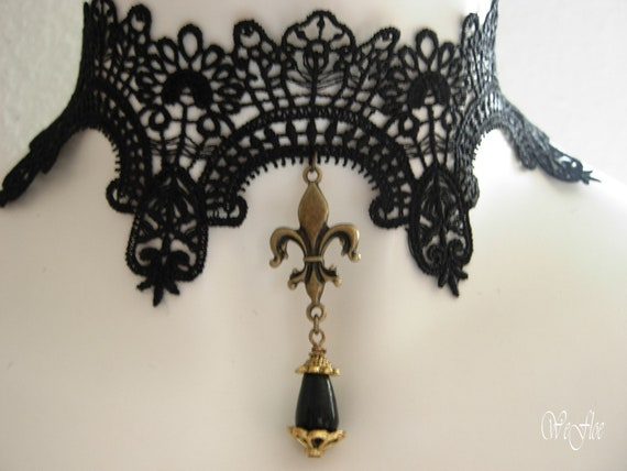 Choker necklace pearltrop gothic burlesque collar jewelry lace black