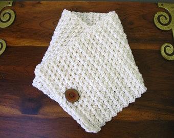 Crochet Cowl Scarf Cream Ivory Neck Warmer Handmade Littlestsister