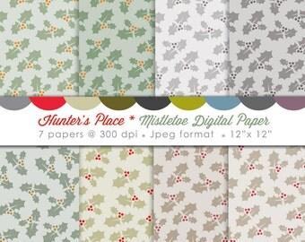 Mistletoe Christmas Digital Scrapbooking Paper