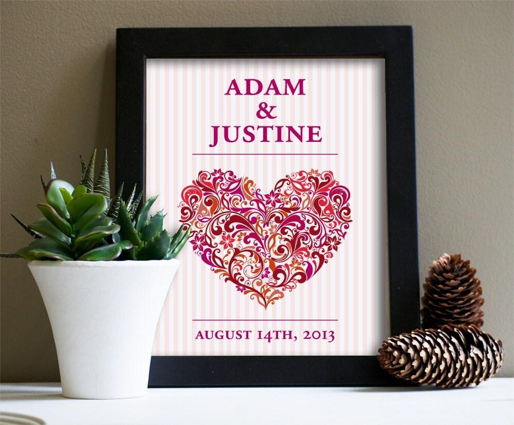 Art Print Wedding Gift : Personalized Wedding Gift Art Print