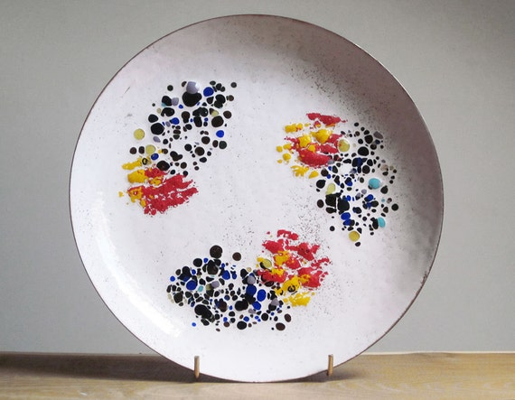 Abstract Mid Century Modern enamel copper plate (1960s)
