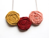 Rosette Necklace - Autumn Fashion Fiber Necklace - Mustard Pink Maroon Flowers, Quirky Statement Jewelry - Shabby Chic Chunky Necklace