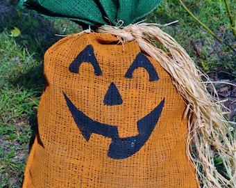 17X27 Halloween Pumpkin Burlap Bag (bag only)