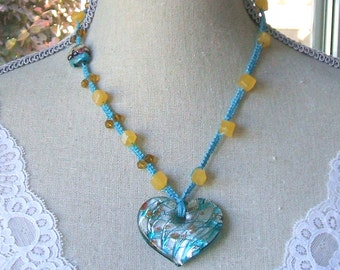 Turquoise macrame golden calcite necklace - Yellow calcite macrame heart necklace