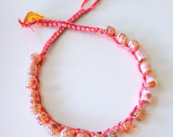 Coral silk macrame necklace - Floral lampwork choker necklace