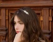 Raw Silk Purple and Gray Ombre Ribbon Art Deco Rhinestone Headband