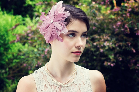 Ombre Rose Pink Feather burlesque Fascinator Headpiece with Swarovski Crystal Center
