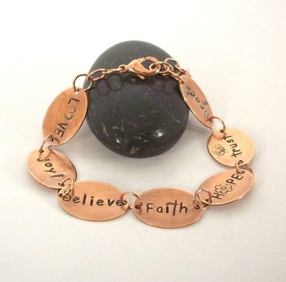 Copper Bracelet, Handstamped, Inspirational Words