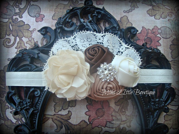 Vintage Inspired  Lace-Satin Flower  -Baby headband- Newborn headband- Infant headband- Toddler headband