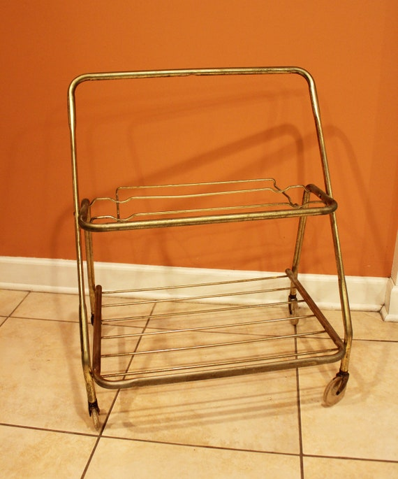 VINTAGE BAR CART - metal frame, two-tier cart with lucite wheels - for barware, plants, storage, etc. (c. 1960s)